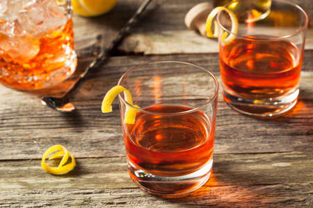 old fashioned: Homemade New Orleans Sazerac Cocktail with Bitters and Rye Stock Photo