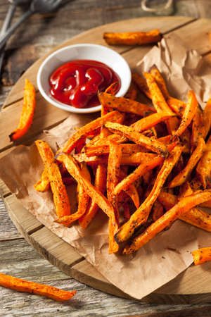 potatoe: Healthy Homemade Baked Sweet Potato Fries with Ketchup