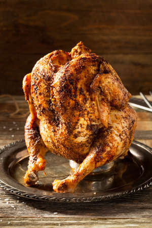 Homemade Grilled Beer Can Chicken with BBQ Spices