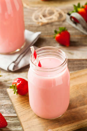 flavoured: Homemade Organic Strawberry Milk Ready to Drink