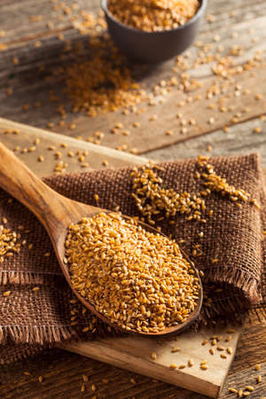 flax seed oil: Raw Organic Golden Flax Seeds in a Spoon