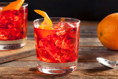 Homemade Boozy Negroni Cocktail with and Orange Twist Stock Photo