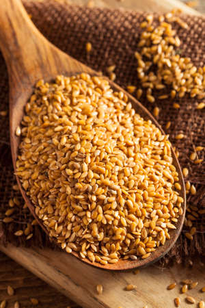 gold flax: Raw Organic Golden Flax Seeds in a Spoon