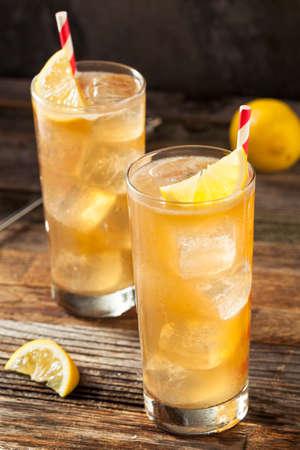 long island: Boozy Long Island Iced Tea with a Lemon Garnish