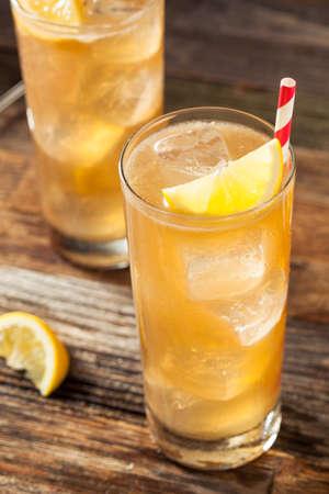 garnish: Boozy Long Island Iced Tea with a Lemon Garnish