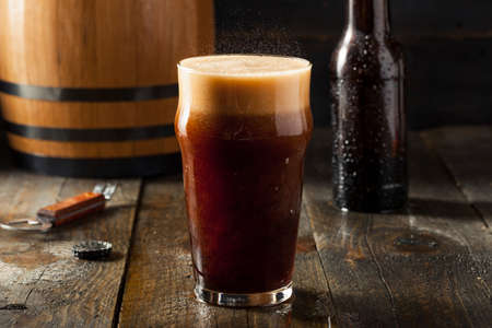 roots: Refreshing Cold Alcoholic Hard Root Beer Ready to Drink Stock Photo