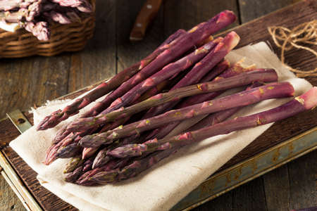 Raw Organic Purple Asparagus Spears Ready for Cooking
