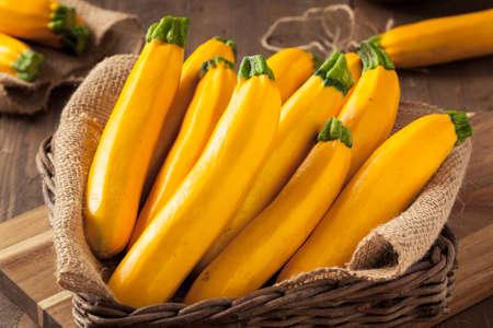 cut up: Raw Organic Yellow Zucchini Squash Ready to Cut Up Stock Photo