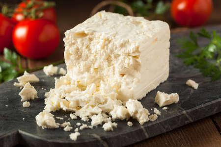 feta: Raw Organic White Feta Cheese for Crumbling Stock Photo
