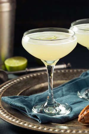 Alcoholic Lime and Gin Gimlet with a Garnish Stock Photo