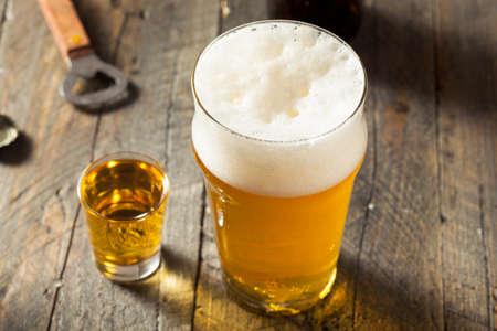 pilsner: Refreshing Beer and Whiskey Shot Boilermaker Cocktail Drink