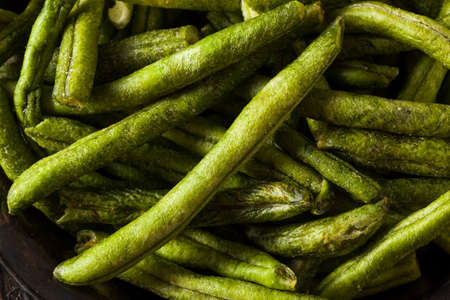 flavours: Healthy Nutritious Dehydrated Green Bean Chips for a Snack Stock Photo