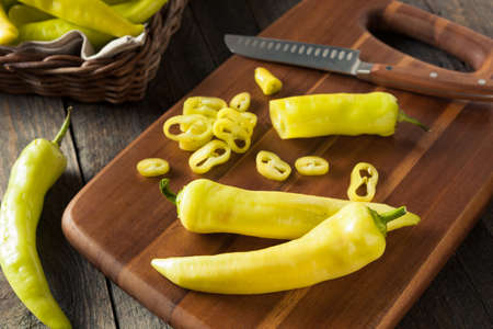 Raw Organic Yellow Banana Peppers Ready to Cut