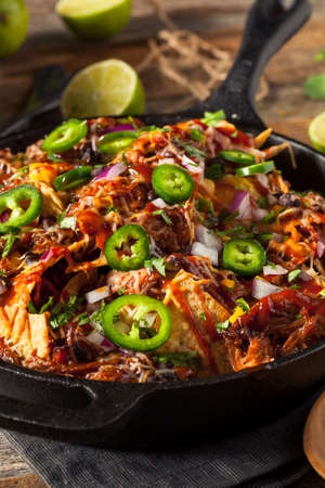pulled: Homemade Barbecue Pulled Pork Nachos with Cheese and Peppers
