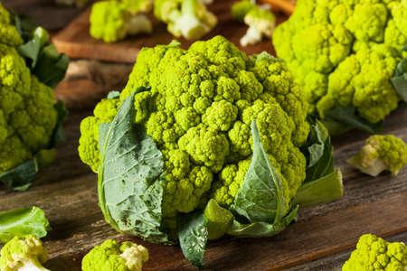 Raw Organic Green Broccoli Cauliflower Ready for Cooking