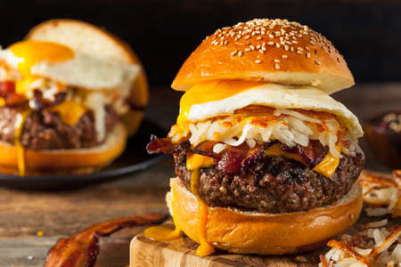 bacon and eggs: Homemade Breakfast Cheeseburger with Bacon Eggs and Hashbrowns