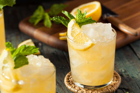 bourbon: Homemade Boozy Bourbon Whiskey Smash with Lemon and Mint
