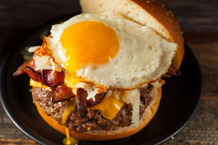 hashbrowns: Homemade Breakfast Cheeseburger with Bacon Eggs and Hashbrowns
