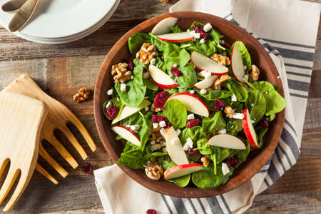 Homemade Autumn Apple Walnut Spinach Salad with Cheese and Cranberries Stock Photo