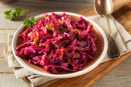 red cabbage: Homemade Red Cabbage and Apples Ready to Eat