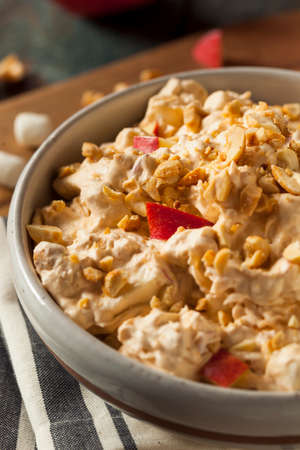 candy apple: Homemade Sweet Candy Apple Salad with Peanuts and Marshmallows