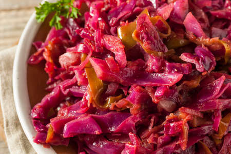 cabbages: Homemade Red Cabbage and Apples Ready to Eat