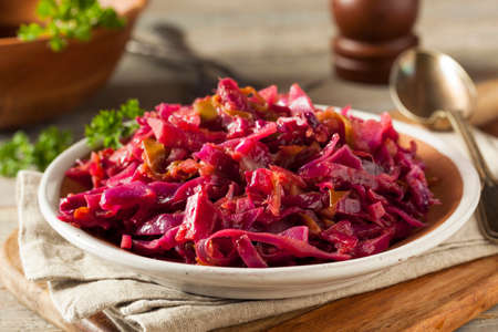 Homemade Red Cabbage and Apples Ready to Eat