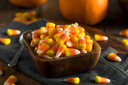 sweet treats: Sweet and Sugary Candy Corn Treats for Halloween Stock Photo