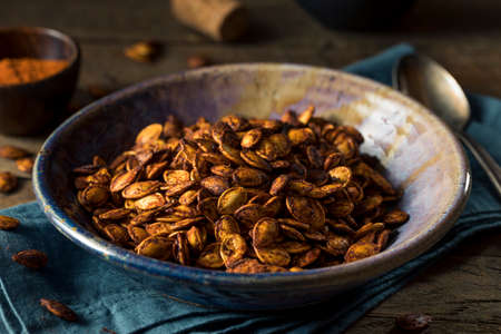 pumpkin seeds: Homemade Roasted Spicy Pumpkin Seeds with Chili and Paprika