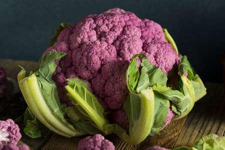 Raw Organic Purple Cauliflower Ready to Cook