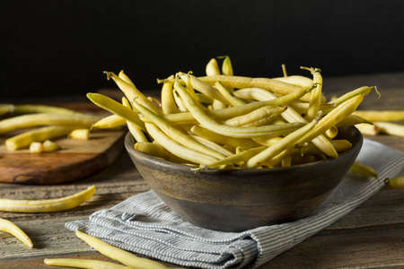 Raw Organic Yellow Wax Beans Ready to Cook Stock Photo