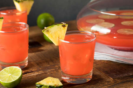 Homemade Jamaican Rum Punch with Lime and Pineapple