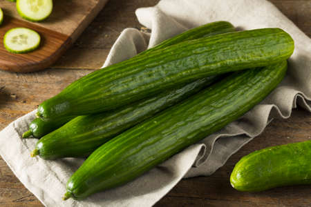 Raw Green Organic European Cucumbers Ready to Eat