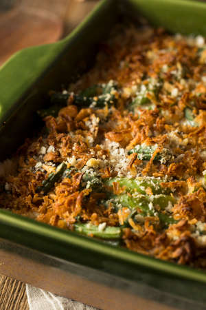 green bean: Homemade Green Bean Casserole with Fried Onions Stock Photo