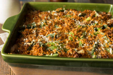 french bean: Homemade Green Bean Casserole with Fried Onions Stock Photo