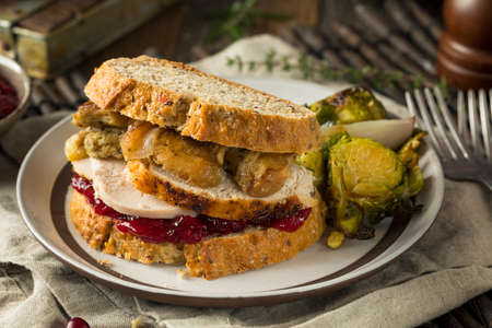 stuffing: Homemade Thanksgiving Leftover Turkey Sandwich with Stuffing and Cranberry