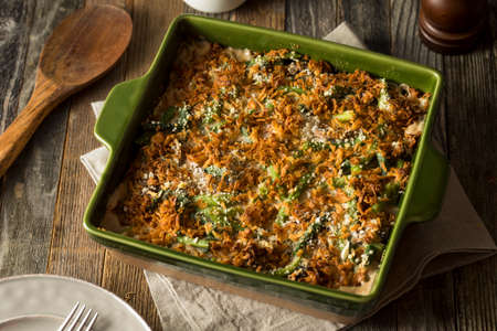Homemade Green Bean Casserole with Fried Onions Stock Photo
