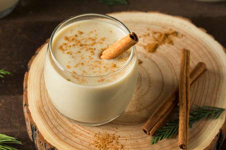 Homemade Christmas Eggnog with Cinnamon and Nutmeg