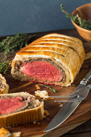 pastry crust: Homemade Christmas Beef Wellington with a Pastry Crust Stock Photo