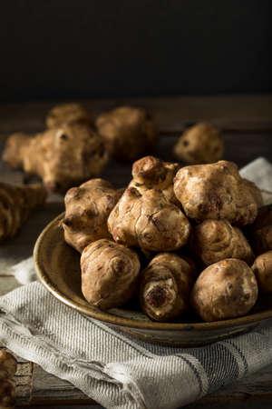 生有機菊芋きくいも料理ができて 写真素材