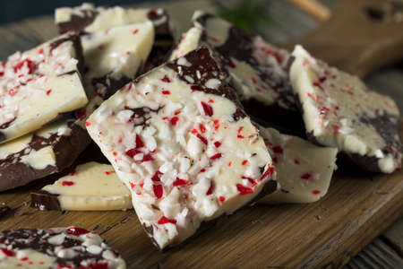 Homemade Sweet Peppermint Bark with White and Dark Chocolate