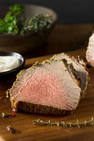 Homemade Herb Crusted Roast Beef with Horseradish Sauce