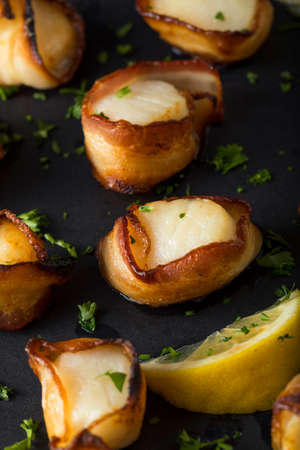Homemade Bacon Wrapped Scallops with Salt and Pepper