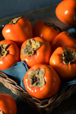 Raw Organic Orange Perssimons Ready to Eat Stock Photo
