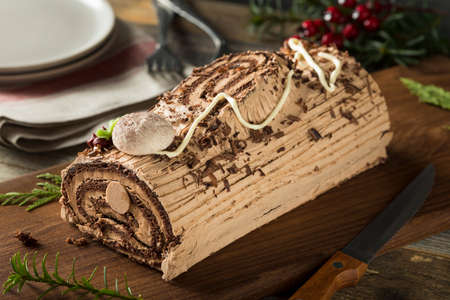 Homemade Chocolate Christmas Yule Log with Mousse and Frosting