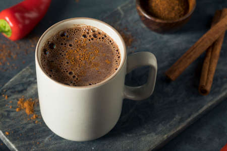 Homemade Holiday Spicy Mexican Hot Chocolate with Cinnamon