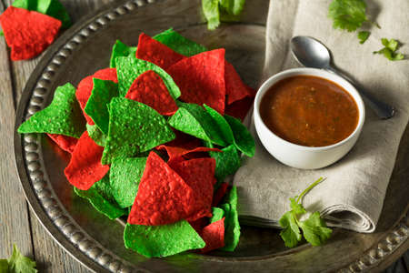 tortilla chips: Festive Christmas Green and Red Tortilla Chips with Salsa