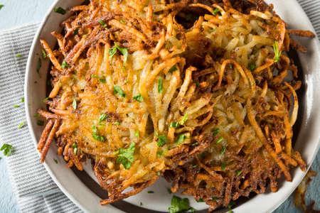 hanukka: Homemade Traditional Potato Latkes with Apple Sauce
