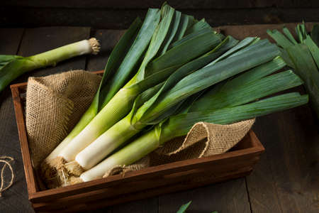 Raw Green Organic Prei Ready to Chop Stockfoto