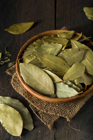 Raw Organic Dry Bay Leaves in a Bowl
